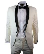 1 Button Cream ~ Ivory Black Shawl Collar 3 Piece Dinner Suit
