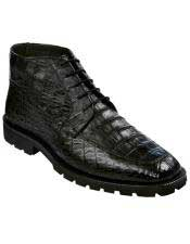 Los Altos Boots Mens Genuine All Crocodile Caiman Black Ankle Leather Sole