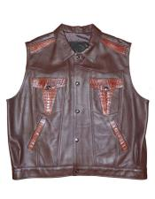 G-Gator Crocodile/Lamb Skin Buttons Closure Vest (Brown Or Cranberry)