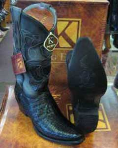 King Exotic Black Snip Toe Genuine Crocodile Leather Piping Western Cowboy Dress