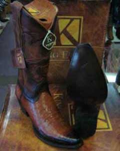 King Exotic Snip Toe Genuine Crocodile Leather Piping Western Cowboy Boot EE+