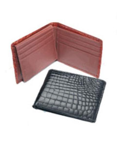 Genuine Exotic Animal Skin Crocodile Billfold BlackCognacChocolate