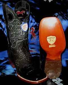 Wild West Genuine Crocodile ~ World Best Alligator ~ Gator Skin Belly Square Black Rodeo Western Cowboy
