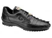 Mens Black Genuine Hornback Crocodile Authentic Genuine Skin Italian Tennis Dress Sneaker