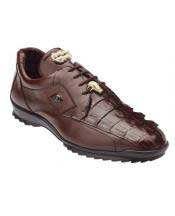 Genuine Skin Italian Tennis Sneaker Shoes Mens Brown Genuine Hornback Crocodile