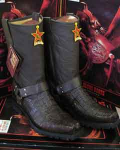 Crocodile Alligator Western Cowboy Biker Motorcycle Boots Brown