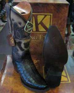 Exotic Genuine Crocodile Snip Toe Western Cowboy Boot EE Brown
