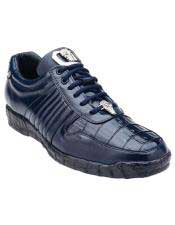 Astor Genuine Crocodile / Soft Calfskin Navy Casual Sneakers for men