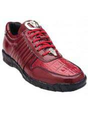 Genuine Skin Italian Astor Genuine Red Crocodile / Soft Calfskin Casual Dress Sneaker for men