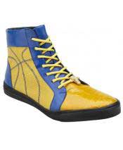 Mens Cushion Insole Lace Up Genuine Crocodile Yellow ~ Blue High Top Sneakers