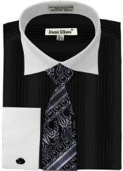 Daniel Ellissa Basic Two Tone French Cuff Dress Shirt Set Black