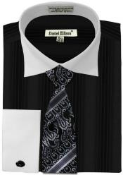 Ellissa Basic Two Tone French Cuff Set Black White Collar Two Toned Contrast Mens Dress Shirt