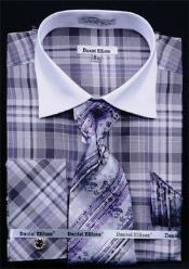 Daniel Ellissa Windowpane Plaid Pattern French Cuff Dress Shirt Black White Collar Two Toned Contrast
