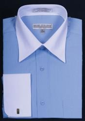 Daniel Ellissa Bright Two Tone Solid French Cuff Blue Shirt