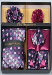 Daniel Ellissa Polka Dot Polyester Neck Tie/Bow Tie Set Grape Purple/White