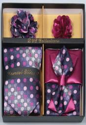 Mens Daniel Ellissa Polka Dot Polyester Neck Tie/Bow Tie Set Grape Purple/White