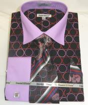 Ellissa  Circle Multi Pattern French Cuff Black Lilac Mens Dress Shirt