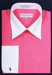 Pink Color Daniel Ellissa Bright Two Tone Solid French Cuff Fuchsia ~ fuschia Dress Shirt Big and Tall