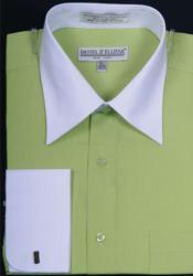 Daniel Ellissa Bright Two Tone Solid French Cuff Lime Dress Shirt Big and Tall Sizes White Collar