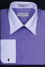 Daniel Ellissa Bright Two Tone Solid French Cuff Lavender Dress Shirt Big and Tall Sizes White Collar