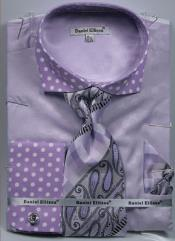 Daniel Ellissa Polka Dot French Cuff Dress Shirt Set Lavender