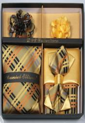 Daniel Ellissa Multi-color Stripes Pattern Neck Tie/Bow Tie Set Lemon Yellow