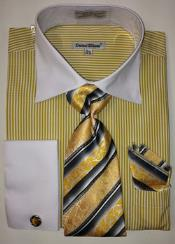 Daniel Ellissa Thin Stripes Big & Tall French Cuff Set Mustard White Collar Two Toned Contrast Mens Dress