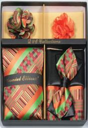 Daniel Ellissa Geometrical Stripes Neck Tie/Bow Tie Set Flame Orange/Green