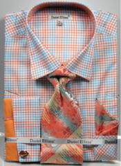 Mens Daniel Ellissa Graph Checker French Cuff Dress Shirt Set Peach
