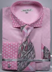 Daniel Ellissa Polka Dot French Cuff Dress Shirt Set Pink