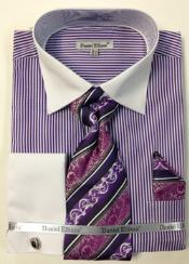 Mens Dress Shirt Purple White Collar Two Toned Contrast Big & Tall French Cuff Mens Daniel Ellissa Thin