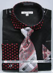 Ellissa Polka Dot French Cuff Set Black/Red Mens Dress Shirt