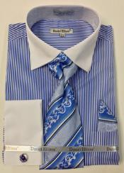 Toned Contrast Big & Tall French Cuff Royal White Collar Mens Daniel Ellissa Thin Stripes Dress Shirt