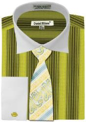 Daniel Ellissa Basic Two Tone French Cuff Set Sage White Collar Two