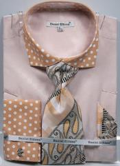 Daniel Ellissa Polka Dot French Cuff Dress Shirt Set Sand