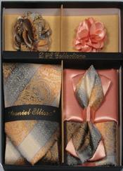 Daniel Ellissa Swirl Neck Tie/Bow Tie Set Sand brown with Ember