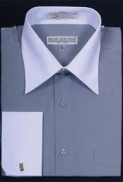 Daniel Ellissa Bright Two Tone Solid French Cuff Silver Dress Shirt Big and Tall Sizes White Collar