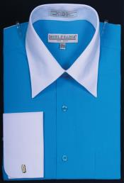Daniel Ellissa Bright Two Tone Solid French Cuff Turquoise Dress Shirt Big and Tall Sizes White Collar