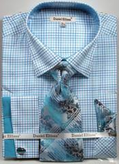 Daniel Ellissa Graph Checker French Cuff Set Turquoise Mens Dress Shirt