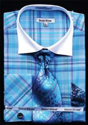 Daniel Ellissa Windowpane Plaid Pattern French Cuff Dress Shirt Turquoise White