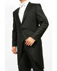 Mens Black 2-Piece 1-Button Cutaway Tuxedo Jacket with the tail suit