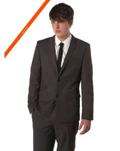 Ultra Slim Cut Black Suit In 2-Button Style + Free Shirt & Tie Package Deal