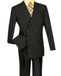 Lucci Mens Black 6 Button Double Breasted Blazer