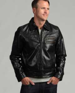 Distressed Black Buffalo Leather Jacket
