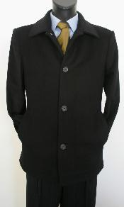 Dress Coat Valenti Designer Wool & Cashmere Single breasted Car Coat Style Black