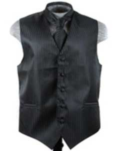Dress Tuxedo Wedding Vest ~ Waistcoat ~ Waist coat Tie Set Black