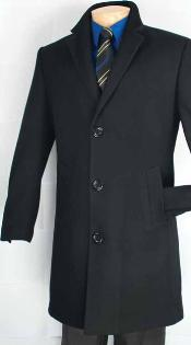 Quarters Length Mens Dress Coat Car Coat Collection in a Soft Cashmere Blend - Black