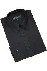 Black Cotton Blend Dress Shirt With Convertible Cuffs