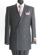 Pinstripe Mens Black Double