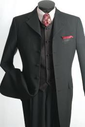 Mens 3 Piece Fashion Suit - Long Zoot Suit Vested Black Color